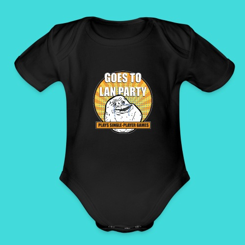 lanparty_singleplayer_meme - Organic Short Sleeve Baby Bodysuit