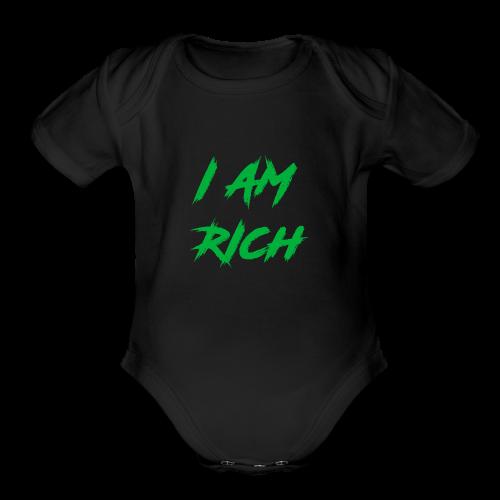 I AM RICH (WASTE YOUR MONEY) - Organic Short Sleeve Baby Bodysuit