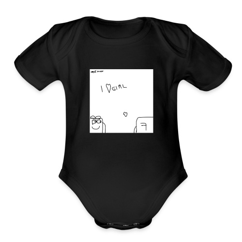 I Love Girl with Feeman - Organic Short Sleeve Baby Bodysuit