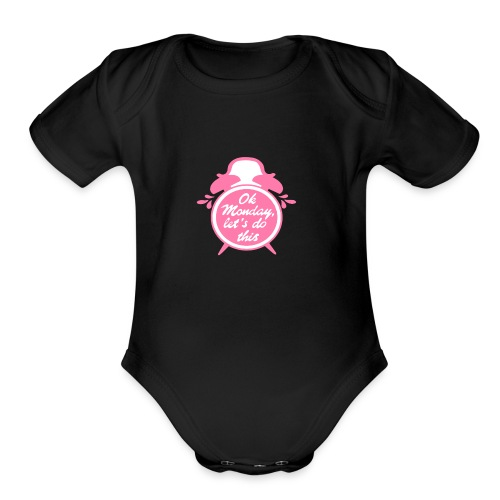 OK MONDAY CLOCK - Organic Short Sleeve Baby Bodysuit