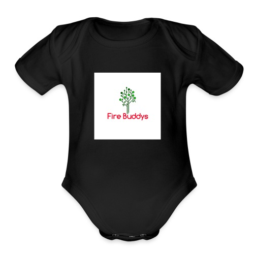 Fire Buddys Website Logo White Tee-shirt eco - Organic Short Sleeve Baby Bodysuit