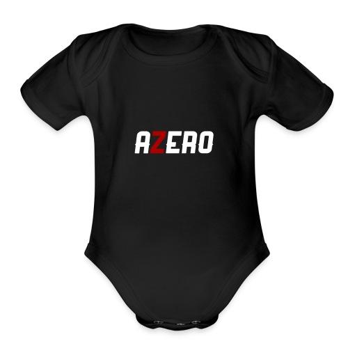 Azero Red & White logo - Organic Short Sleeve Baby Bodysuit