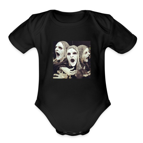 The three scary ghost... - Organic Short Sleeve Baby Bodysuit