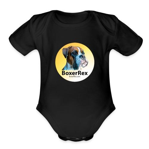 Boxer Rex logo - Organic Short Sleeve Baby Bodysuit