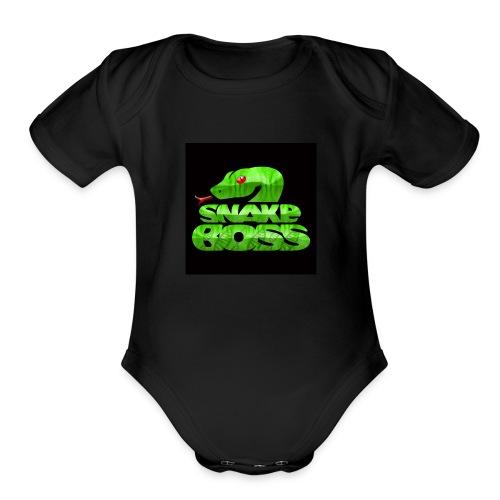 Snake boss black logo - Organic Short Sleeve Baby Bodysuit