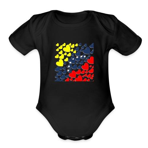 Venezuela´s Flag in heart - Organic Short Sleeve Baby Bodysuit