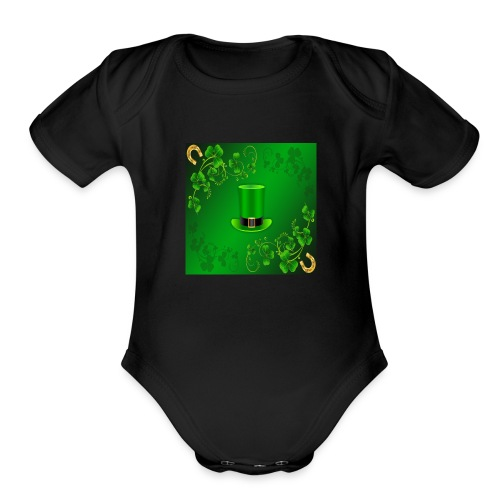 leprechaun shirt - Organic Short Sleeve Baby Bodysuit