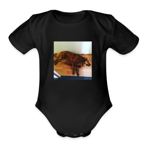 J gymnastics dog Minerva - Organic Short Sleeve Baby Bodysuit