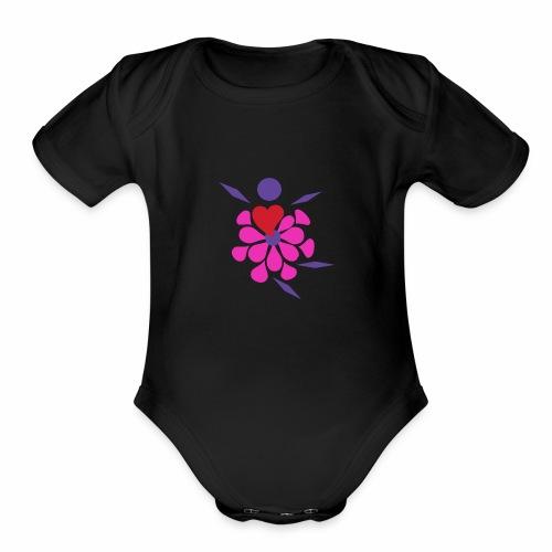 Flower Damcer - Organic Short Sleeve Baby Bodysuit