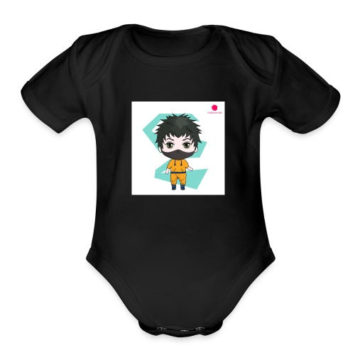 The mini x vampire logo - Organic Short Sleeve Baby Bodysuit