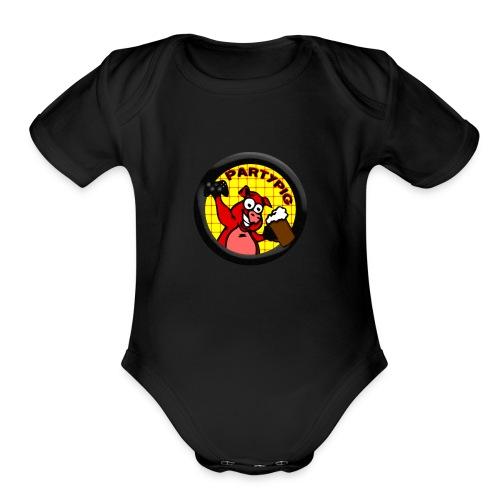 PartyPig Logo - Organic Short Sleeve Baby Bodysuit