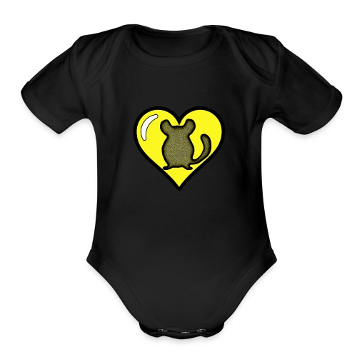 Yellow Chinchilla Heart - Organic Short Sleeve Baby Bodysuit
