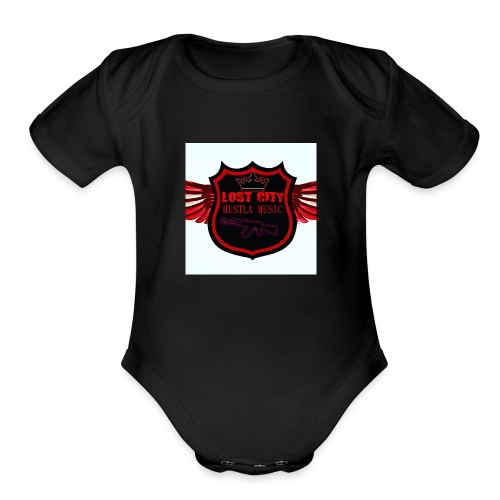 Hustle logo - Organic Short Sleeve Baby Bodysuit