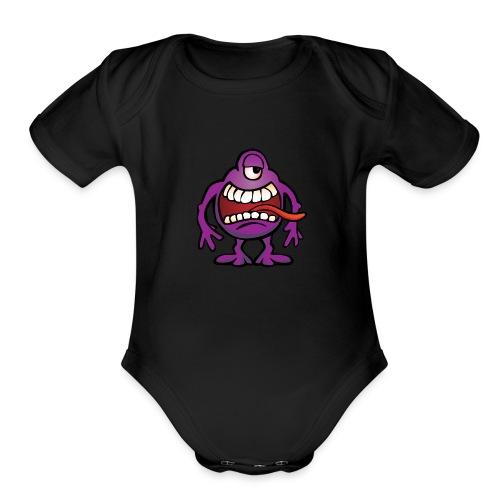 Cartoon Monster Alien - Organic Short Sleeve Baby Bodysuit