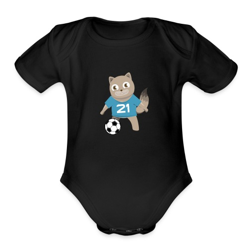 Kitty Soccer - Football - Cat with Ball - Organic Short Sleeve Baby Bodysuit