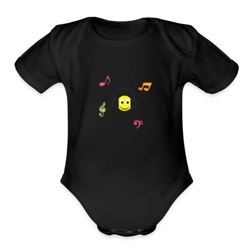 smiley face headphones - Organic Short Sleeve Baby Bodysuit
