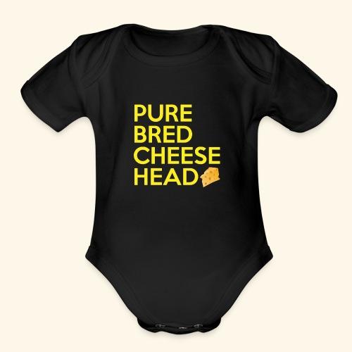 Pure Bred Cheese Head - Organic Short Sleeve Baby Bodysuit