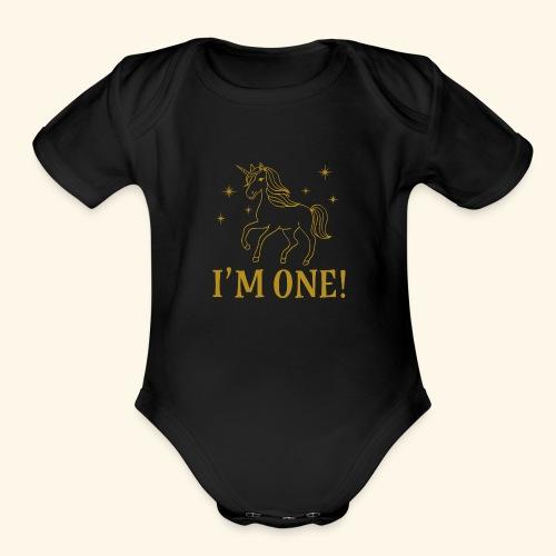 1st Birthday Gold Unicorn - Organic Short Sleeve Baby Bodysuit