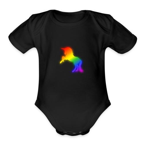 Glowing Rainbow Unicorn Drawing - Organic Short Sleeve Baby Bodysuit