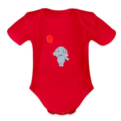Baby Elephant Holding A Balloon - Organic Short Sleeve Baby Bodysuit