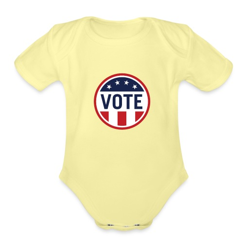 Vote Red White and Blue Stars and Stripes - Organic Short Sleeve Baby Bodysuit