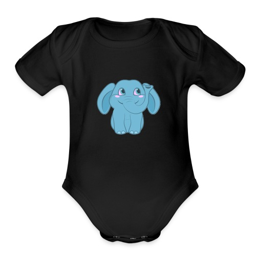 Baby Elephant Happy and Smiling - Organic Short Sleeve Baby Bodysuit