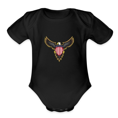 Patriotic American Bald Eagle - Organic Short Sleeve Baby Bodysuit