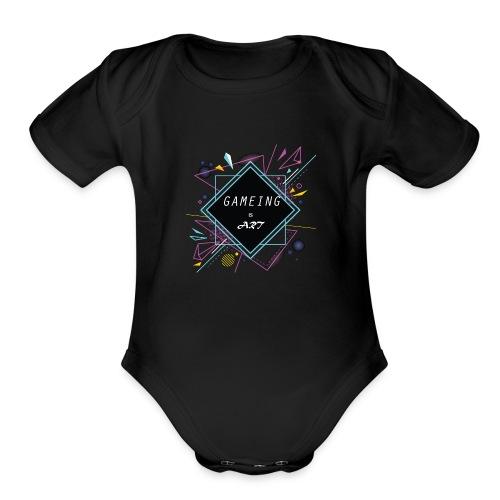 gameing is art - Organic Short Sleeve Baby Bodysuit