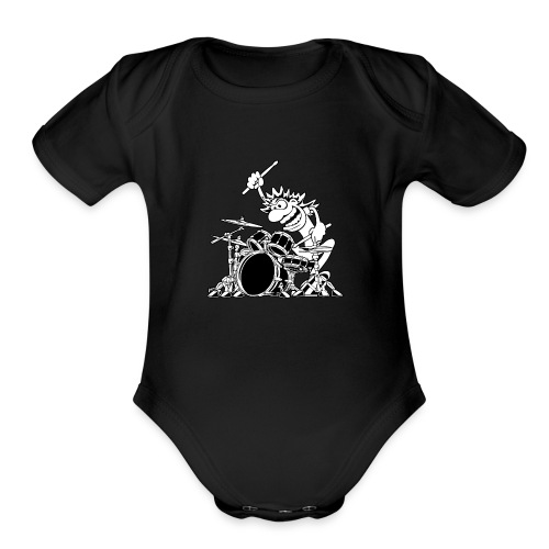 Crazy Drummer Cartoon Illustration - Organic Short Sleeve Baby Bodysuit