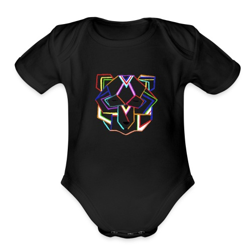 art deco bear face - Organic Short Sleeve Baby Bodysuit