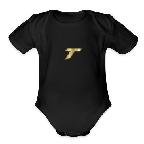 gold tare logo - Organic Short Sleeve Baby Bodysuit