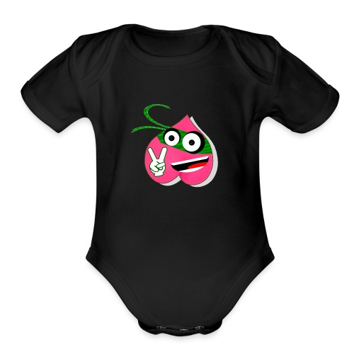 chrno mask front by koei - Organic Short Sleeve Baby Bodysuit
