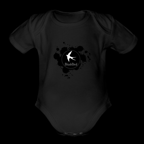 BlackBird Ink Spill Logo - Organic Short Sleeve Baby Bodysuit