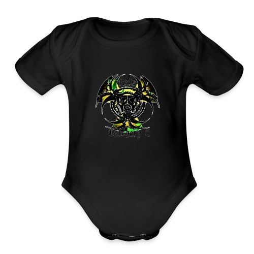 Green n Black logo - Organic Short Sleeve Baby Bodysuit