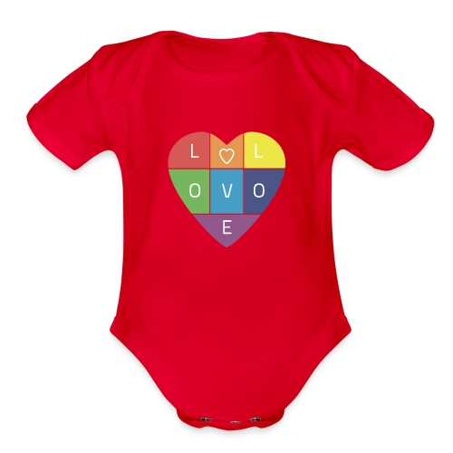 Rainbow Heart - Organic Short Sleeve Baby Bodysuit