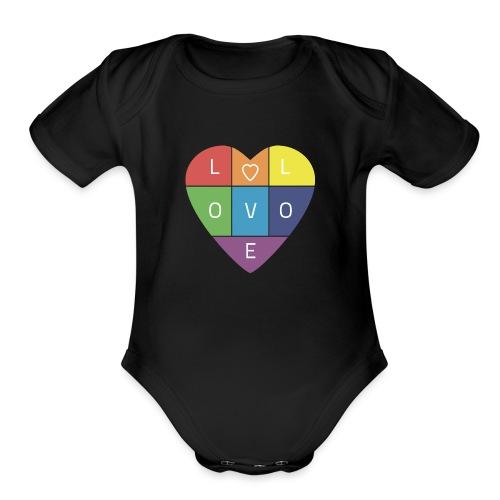 Rainbow Heart - Organic Short Sleeve Baby Bodysuit