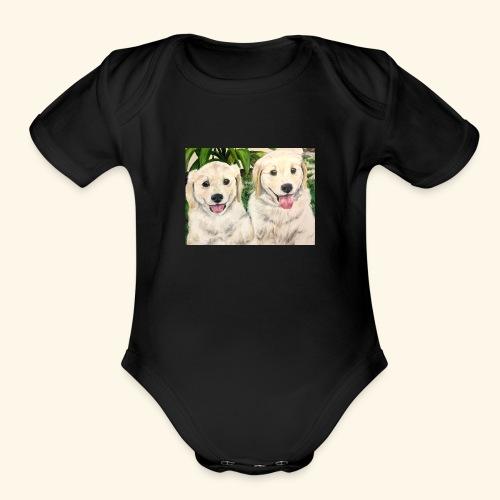 Golden Pups by Kelli Starkey @LACreationsLLC - Organic Short Sleeve Baby Bodysuit