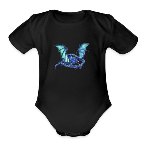 lizard dragon - Organic Short Sleeve Baby Bodysuit