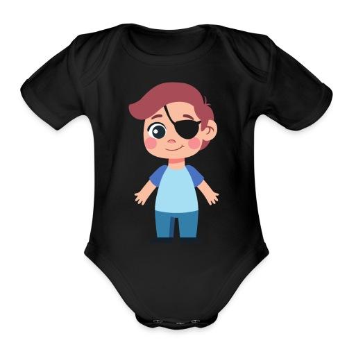 Boy with eye patch - Organic Short Sleeve Baby Bodysuit