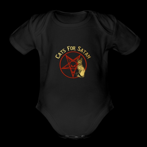 Cats For Satan by BelDisegno of Italy - Organic Short Sleeve Baby Bodysuit