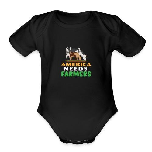 America Needs Farmers - Organic Short Sleeve Baby Bodysuit