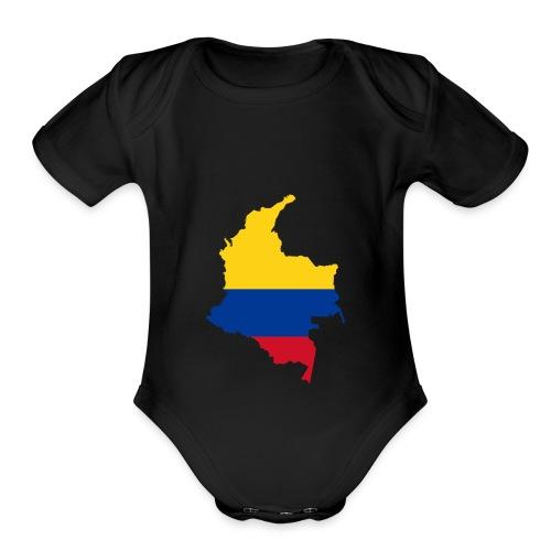colombia mapa - Organic Short Sleeve Baby Bodysuit