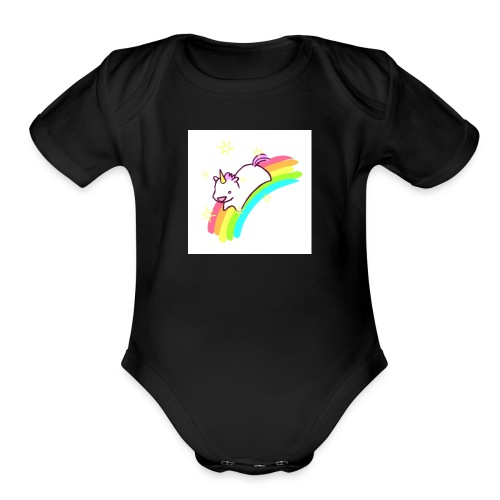 tumblr static sparkly unicorn no tag - Organic Short Sleeve Baby Bodysuit