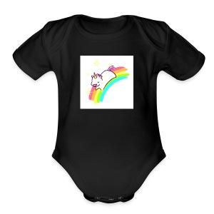 tumblr static sparkly unicorn no tag - Short Sleeve Baby Bodysuit