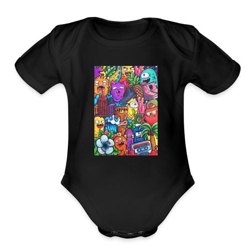 doodle art vexx - Organic Short Sleeve Baby Bodysuit