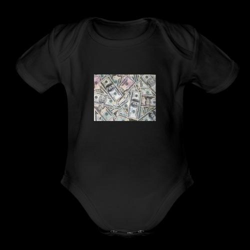 rich pepole all pepole - Organic Short Sleeve Baby Bodysuit