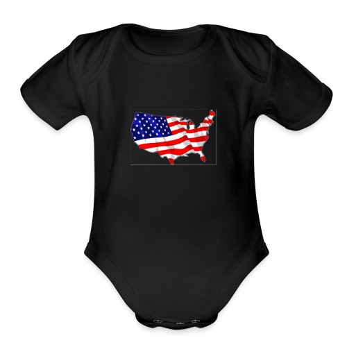 American Flag - Organic Short Sleeve Baby Bodysuit