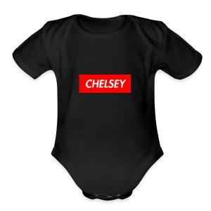 chelseys box logo - Short Sleeve Baby Bodysuit
