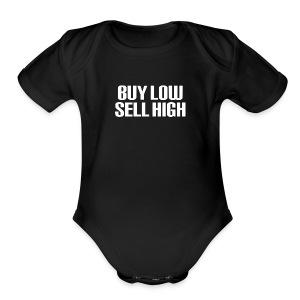 Buy Low Sell High White - Short Sleeve Baby Bodysuit