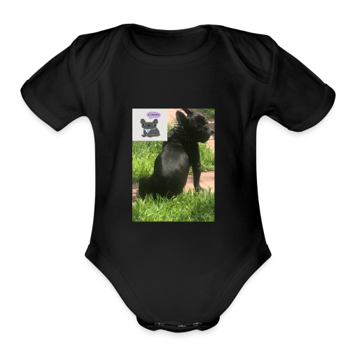 french bulldog - Organic Short Sleeve Baby Bodysuit